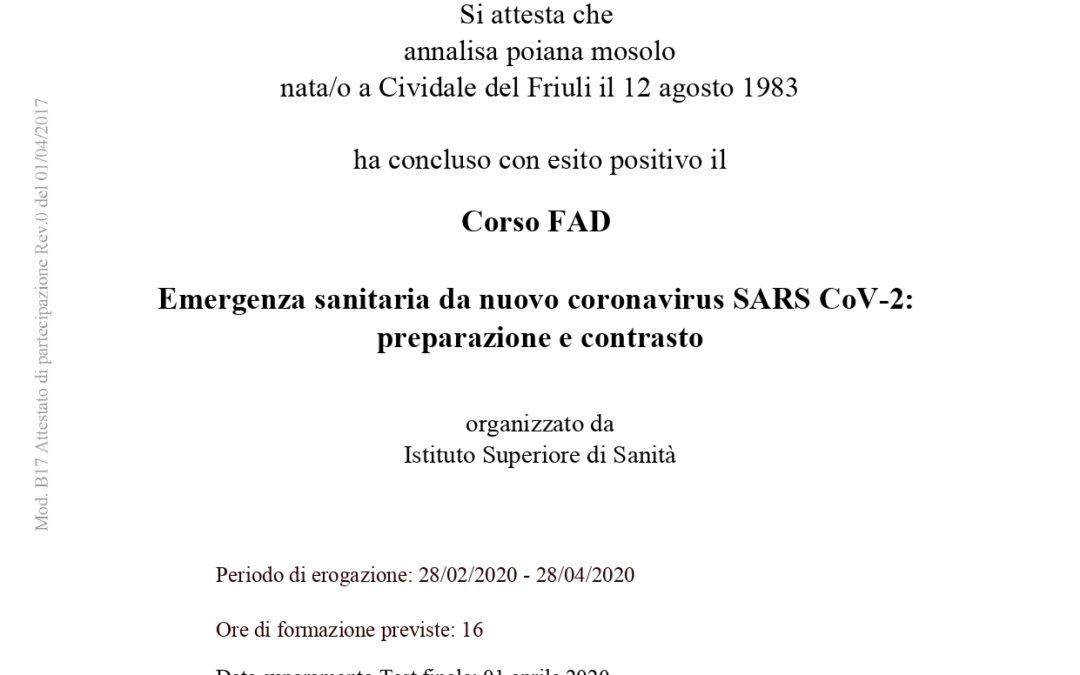 Attestato finale della formazione su COVID-19 dell'Istituto Superiore di Sanità